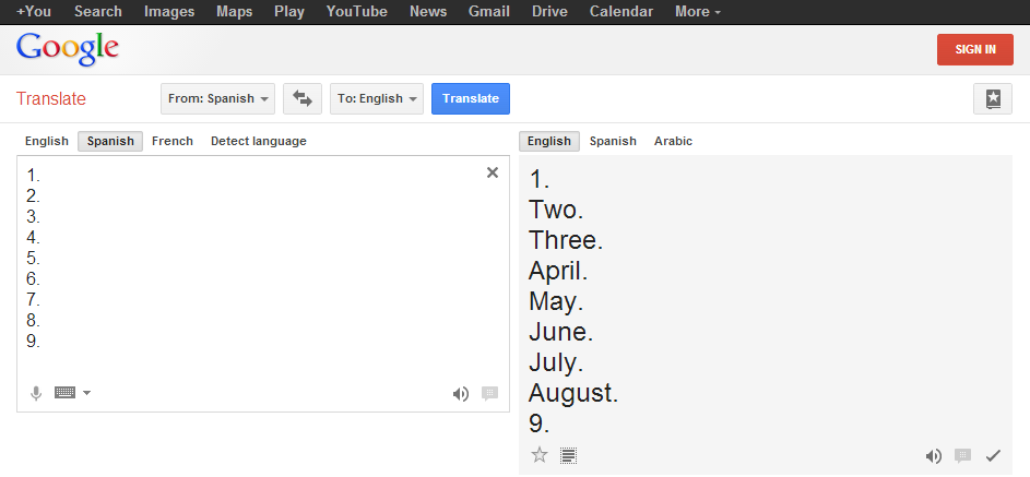 Google Translate's interpretation of the numbers 1 through 9.